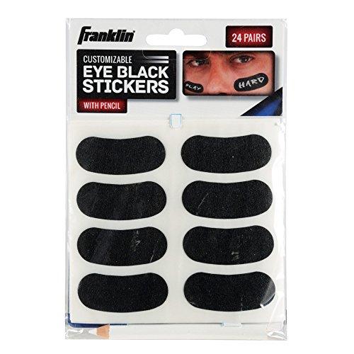 Franklin Sports Eye Schwarze Aufkleber für Kinder, personalisierbare Buchstaben, Baseball- und Fußballauge, Schwarze Aufkleber - weißer Stift im Lieferumfang enthalten, Schwarz, Einheitsgröße