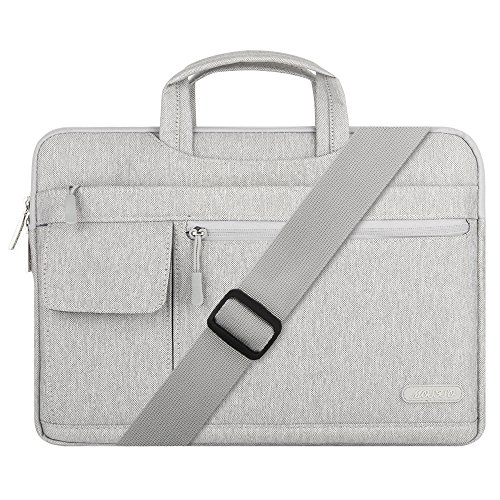 MOSISO Portatile Spalla Borsa Compatibile 13-13,3 Pollici MacBook PRO,MacBook Air,Computer Notebook,Poliestere Flapover Stile Messenger Borsa a Tracolla Custodia Valigetta con Tracolla Cinghia,Grigio