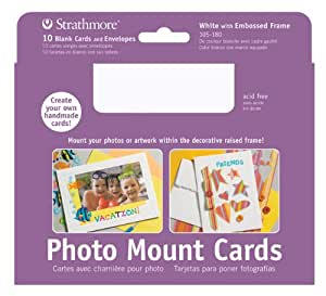 """Strathmore Artist Papers White Photo Mount Cards and Envelopes Embossed Border (5"""" x 6.875"""")"""