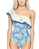 Frauen mit Rüschen One Piece Badeanzug Badeanzug Bikini One Shoulder Einteilige Badeanzug Als Bild L