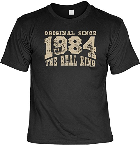 Geschenk zum 34 Geburtstag - THE REAL KING since 1984 - T-Shirt Motiv in Vintage Design Gr. XL in schwarz : ) (1984 Schwarzen T-shirt)