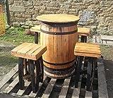 Recycelt solide Eiche Whiskey Fass Bar Tisch und 4 Stühle