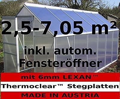 2,5 - 6,06m² ALU Aluminium Gewächshaus Glashaus Tomatenhaus, 6mm Hohlkammerstegplatten - (Platten MADE IN AUSTRIA/EU) inkl. Fenster mit autom. Fensteröffner von AS-S von AS-S auf Du und dein Garten