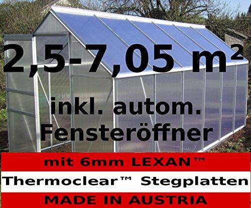 2,5-6,06m² ALU Aluminium Gewächshaus Glashaus Tomatenhaus, 6mm Hohlkammerstegplatten – (Platten Made in Austria/EU) inkl. Fenster mit autom. Fensteröffner von As-S