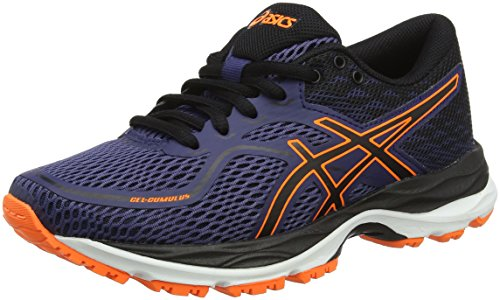 Asics Unisex-Kinder Gel-Cumulus 19 GS Laufschuhe, Blau (Indigo Blue/Black/Shocking Orange 4990), 35.5 EU