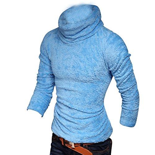 BOMOVO Herren Schalkragen Strickpullover Hohe Elastizität Sweatshirt Blau