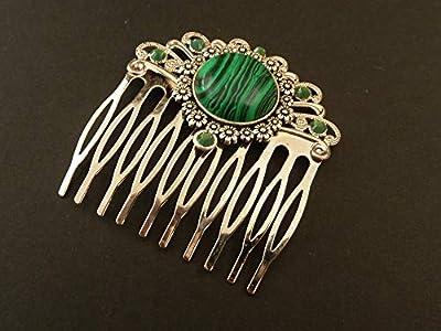 Peigne à cheveux avec malachite en argent vert