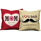 #8: indibni Best Mom Superhero Dad 12x12 Red Beige Cushions with Fiber Filler Gift for Father's Day/Mother's Day/Birthday /Anniversary