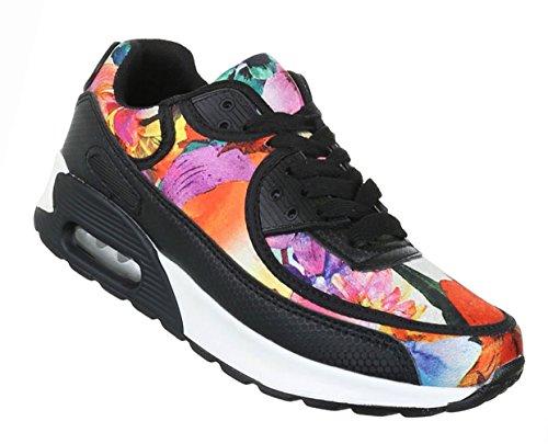 Damen Schuhe Freizeitschuhe Sneakers Turnschuhe Schwarz Multi Schwarz