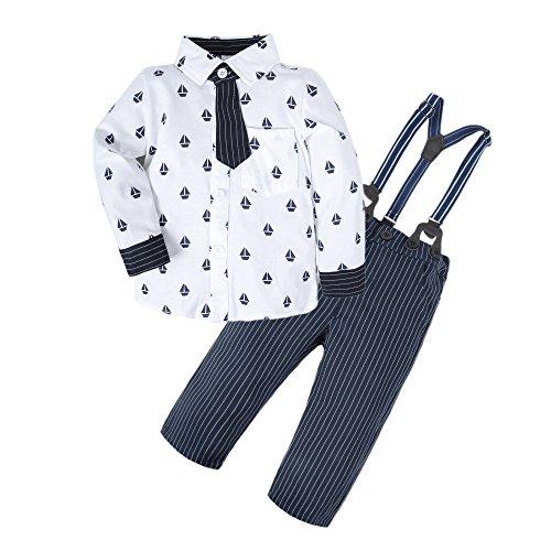 BIG ELEPHANT Baby Jungen 2 Stück Langarm Shirt Hose Kleidung Set mit Krawatte und Hosenträger U18
