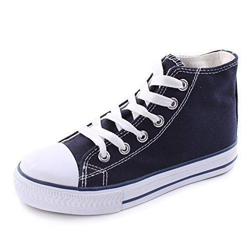Fitters Footwear Damen Leinenschuh Canvas Turnschuhe Hoch Weiss Schwarz Blau Dunkelblau