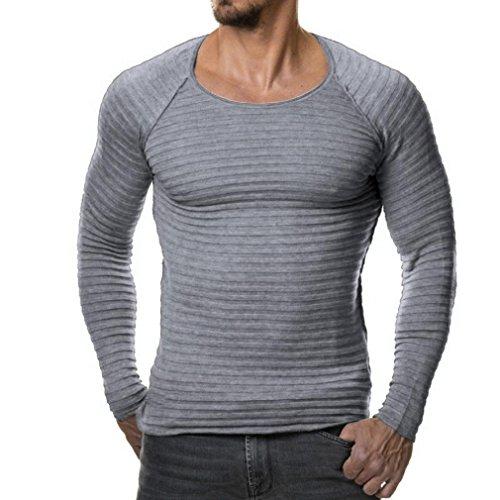 YunYoud Herren Tops Männer Einfarbig Lange Ärmel Tops O-Hals Slim Fit Bluse Herbst Winter Beiläufig Stricken Sweatshirt Mode Draussen Sport Hemd (M, Grau) (Man Shirt Kostüme)