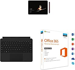 Microsoft Surface Go 25 cm (10 Zoll) 2-in-1 Tablet (Intel Pentium Gold, Windows 10 im S Modus) + Surface Go Type Cover Schwarz (Deutsches Tastaturlayout) + Office 365 Personal multilingual | 1 Gerät