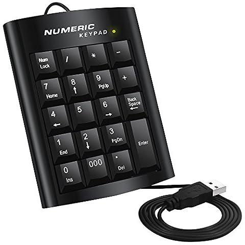 Pavé numérique, DLAND ergonomiques USB 19 touches numériques du clavier numérique clavier numérique externe Pad pour Windows Desktop PC Notebook Laptop