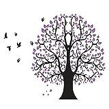 Wandtattoo Wandbild für Wohnzimmer oder Schlafzimmer. Moderner Baum mit vielen Blättern und Vögeln in schwarz und lila. Wandsticker für Erwachsene. Wandaufkleber zum Gestalten einer individuellen Wand