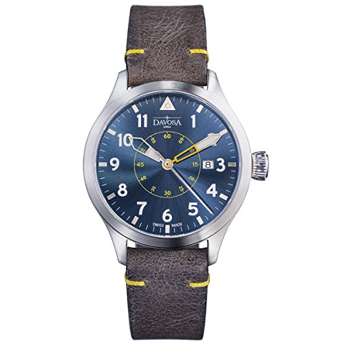 Davosa Swiss Neoteric Pilot 16156546 Men Wrist Watch Brown Leather Band, Blue