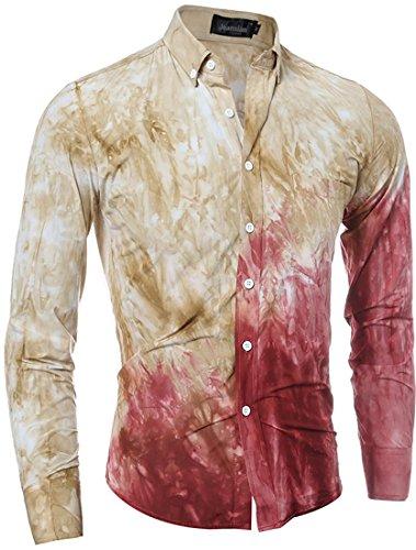 jeansian Herren Freizeit Hemden Shirt Tops Mode Langarmshirts Slim Fit 84A9 Yellow
