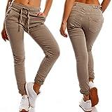 Made Italy Damen Boyfriend Hose Jogger Style Freizeithose High Waist, Farbe:Beige;Größe:40/L