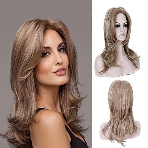 Donna parrucca capelli ombre parrucca sintetica marrone chiaro e biondo cenere lunghezza naturale ondulato sintetico favoloso medio parrucca naturale come veri capelli partito parrucca