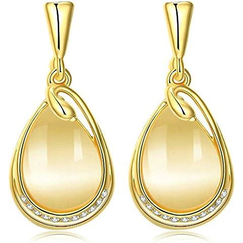 Gnzoe Gioielli 18K Oro Placcato Drop Orecchini Tear Drop Forma Opal Cristallo Eco Amichevole