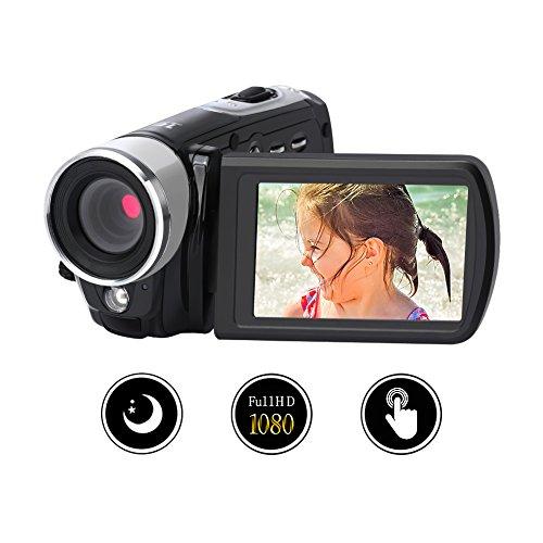 Videokamera Camcorder Digitalkamera Video Recorder Full HD 1080p Nachtsicht 24.0MP Mit 16x Digital Zoom 3 Zoll 270 ° Rotation Touch Screen