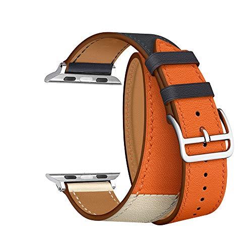 CAILIN Kompatibel mit Watch Armband 38mm 42mm 40mm 44mm, Echtleder Uhrenarmband Ersatz für Watch Series 4, Series 3, Series 2, Series 1 (42mm, Indigo/Craie)