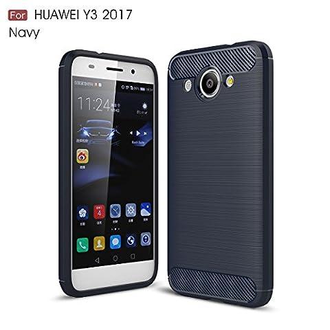 Huawei Y3 2017 Hülle, TOTOOSE Kohlefaser Texture Anti-Rutsch Weich TPU Hülle Shock-Absorbing Slim Zurück Abdeckung For Huawei Y3 2017 Marine