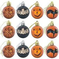 Henan 12 piezas de bola de corona de Halloween inastillable adornos colgantes calabaza fantasma decoración