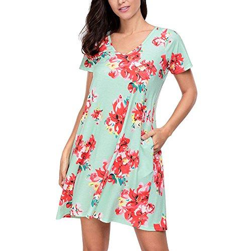 Uranus Damen Blumenmuster Kurzarm Sommer Tunika T-Shirt Mini Kleid Mit Tasche (Exotische Meerjungfrau Kostüme)