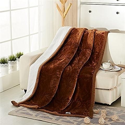 BDUK Coltre spessa coltre di flanella inverno coperte calde composito doppia lino corallo e quilt ,150cmx200cm, marrone