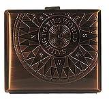 Sellmando Zigarettenetui Metall Kompass Antik mit Bügel für 18 Zigaretten (Kupfer)