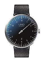 Botta-Design UNO+ Carbon Automatik Armbanduhr - Einzeigeruhr, Edelstahl, schwarzes Zifferblatt, Lederband