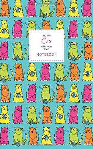 Cats Notebook - Ruled Pages - 5x8 - Premium: (Turquoise Edition) Fun notebook 96 ruledlined pages (5x8 inches  12.7x20.3cm  Junior Legal Pad  Nearly A5)