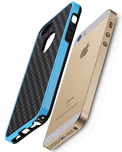 Fosmon DURA-HOLOGRAM stereoskopisch Mauer 2 im 1 TPU + PC Case Cover hülle für iPhone 5 / 5s / SE - Rosa / Schwarz blau