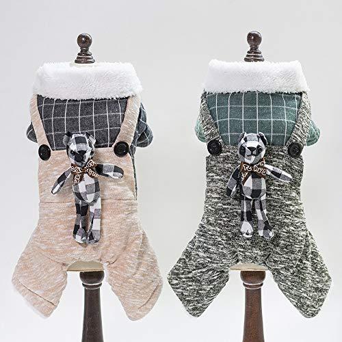 PZSSXDZW Pet Kleidung Hund Kleidung Haustier Kleidung Katze Kleidung Herbst und Winter Karierten Kaninchen Vierbein ()
