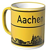 Wandkings® Tasse, Skyline Aachen - GELB