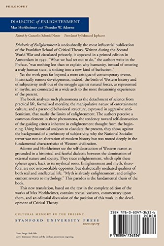 an analysis of the philosophy in dialectic of enlighenment by theodor adorno Adorno's dream: interpretation after auschwitz 1 it is not possible nowadays to ascribe meaning to what exists, and even the denial of meaning, official nihilism, has deteriorated to an affirmative message, a piece of illusion [ein stück schein], that tries to justify the despair in the world as the world's essential content, auschwitz as boundary situation.