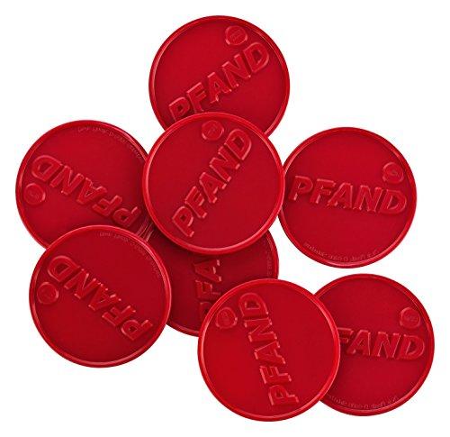 Pfandmarken, ø30mm, Aufdruck: 'PFAND', viele Farben + Mengen, einsetzbar als Wertmarken Getränkemarken oder Essensmarken, Farbe:brillantrot, Größe:500 Stück