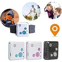 JOHLYE Rastreador de GPS SOS Alarm gsm GPRS Rastreador de GPS Localizador de 2 vías de Audio Geo-Fence SOS Communicator Rastreo en Tiempo Real para niños Niños Anciano Personal(Azul)