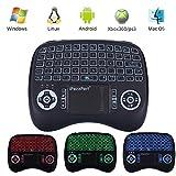 iPazzPort Mini Retroiluminado Teclado Inalámbrico con Touchpad 2.4GHz Mini Keyboard Teclado Ergonómico con Ratón Touchpad para Teclado Android tv, Smart TV (3 colores)