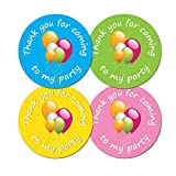 \'Thank You For Coming To My Party\' - 30mm diameter party stickers - 4 colours (48)