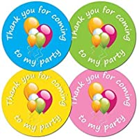 'Thank You For Coming To My Party' - 30mm diameter party stickers - 4 colours