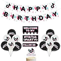 Tik Tok Party Supplies - TIK Tok Happy Birthday Banners Cake Topper Ballons For Boys Girls Music Karaoke Themed Party Decorations