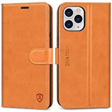 """SHIELDON iPhone 12 Pro Max Case, Shockproof Genuine Leather Wallet Case with RFID Blocking, TPU Shell, Kickstand, Card Slots, Flip Folio Magnetic Cover Compatible with iPhone 12, 6.7"""", 2020, Brown"""