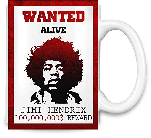Jimi Hendrix - Wanted Unique Coffee Mug | 11Oz Ceramic Cup| The Best Way to Surprise Everyone On Your Special Day| Custom Mugs by -