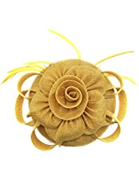 d3e707cd Flywife Fascinators Hat Sinamay Feather Pillbox Hat Flower Cocktail Wedding  Church Derby Tea Party Hat