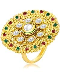 Sukkhi Glittery Designer Traditional Cocktail Gold Plated Kundan Finger Ring For Women