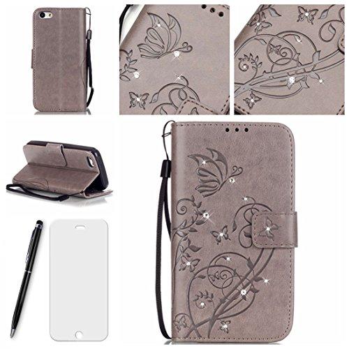 Lotuslnn iPhone 5C Case, Kristall Strass Pave Fllip Wallet Stil Leder Tasche Etui iPhone 5C Hülle Handyhülle-(Schutzhülle+ Stylus Stift+Screen Protector)- Schmetterling, Grau (5c Protector Screen)