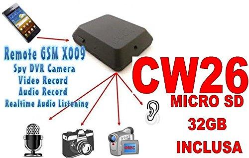 MICROSPIA GSM X009 SPIA AUDIO VIDEO INTERCETTAZIONE AMBIENTALE CIMICE + SD32GB CW26
