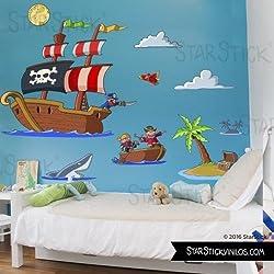 Adhesivo de pared infantil con piratas.